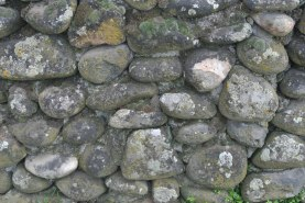 detail of the cemetery rock wall
