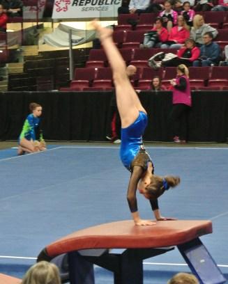 Idaho State Championships 2014 Vault Handstand - Level 7