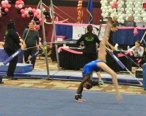 Flips Invitational 2015 Floor Back Walkover to Handstand - Level 7