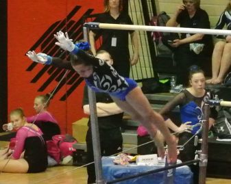 Idaho State Championships 2015 Bars Layout Flyaway Dismount - Level 7