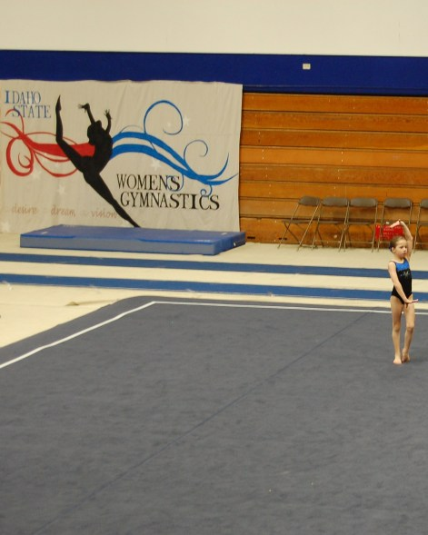 Idaho State Championships 2011 Floor Pose with Banner in Background - Level 4