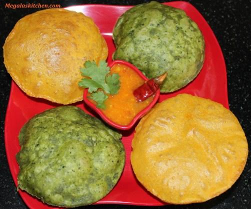 Cheese poori & palak poori