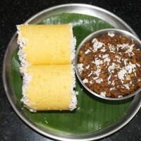 Cornmeal Puttu with Sweet Sundal