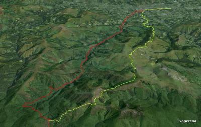 Recorrido de los caminos bajo (rojo) y alto desde Ibañeta