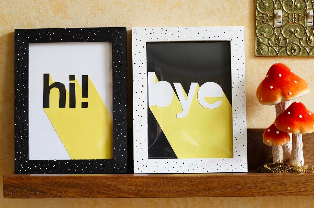 hi! Make 3D lettering & DIY speckled frames with me in today's @hgtvhandmade video. Link in profile. bye