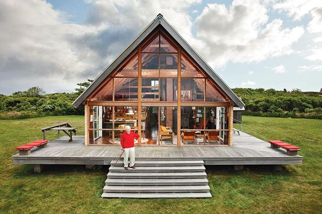 House Envy: Jens Risom's Block Island prefab A-frame summer house via @dwellmagazine