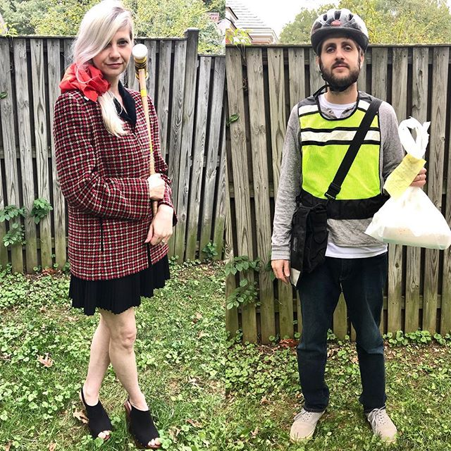 Thrift stores are havens for Halloween costumes and today on @hgtvhandmade, @williedictionary & I challenge each other to see who can come up with the best idea. We have tips for where to start and how to round them out in the video linked in my bio. My costume doubles as a second lewk with two simple changes for a low-budget high-impact Halloween experience. Travel back to the '90's with us in our Thrift Store Halloween Couples Costume Challenge & vote your pick in comments