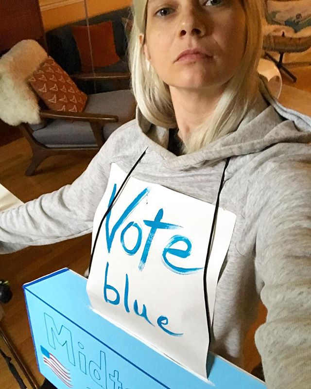 Is wearing this giant ballot box while walking your dog too extra? Asking for friend