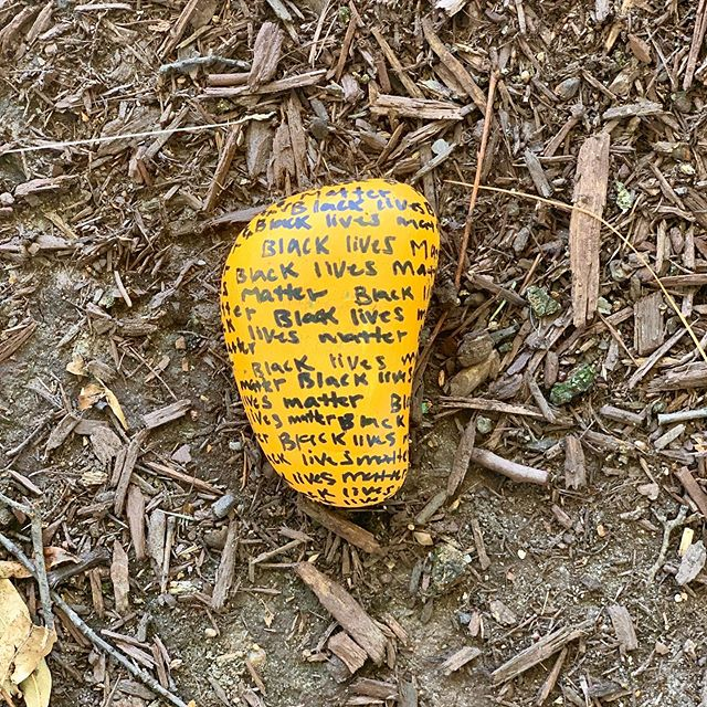 We're finding these hand painted stones around our neighborhood while out on walks. Making these with your kids is a great way to get them involved creatively and start talking about the reality of racism.  My educator parents started the dialogue about racism with me before I can remember, and it was *always* a part of the conversation. I think that practice at home helped me speak up at school at an earlier age. I still have MUCH TO LEARN as we all do, but that early exposure was the first step to working on being anti-racist. It's never too early and it's never too late.