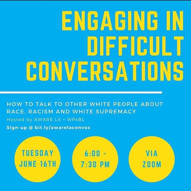 @wp4bl is offering this FREE virtual workshop Engaging In Difficult Conversations that will provide tools  and practices that will assist us in having more effective conversations about race. Sign up now to be there live on Tuesday, June 16, at 6pm and get the link to watch later