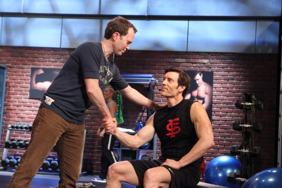 Mason Bendewald and Tony Horton on the set of P90X2.