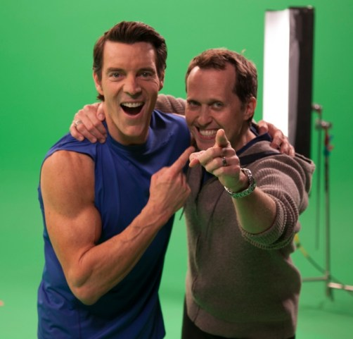 Mason Bendewald and Tony Horton shooting footage for the P90X iphone app.