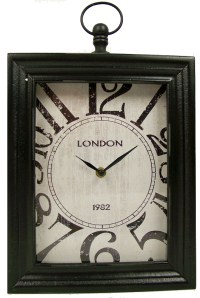 "Home & Styling Wand / tafelklok ""London"" 30x24x6 (zwart)"