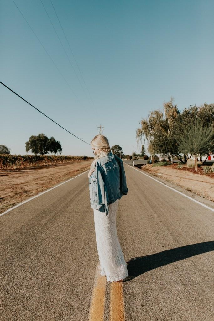 Megan Claire Photography | Northern California Wedding Photographer. Bohemian bridal portraits on farm road @meganclairephoto