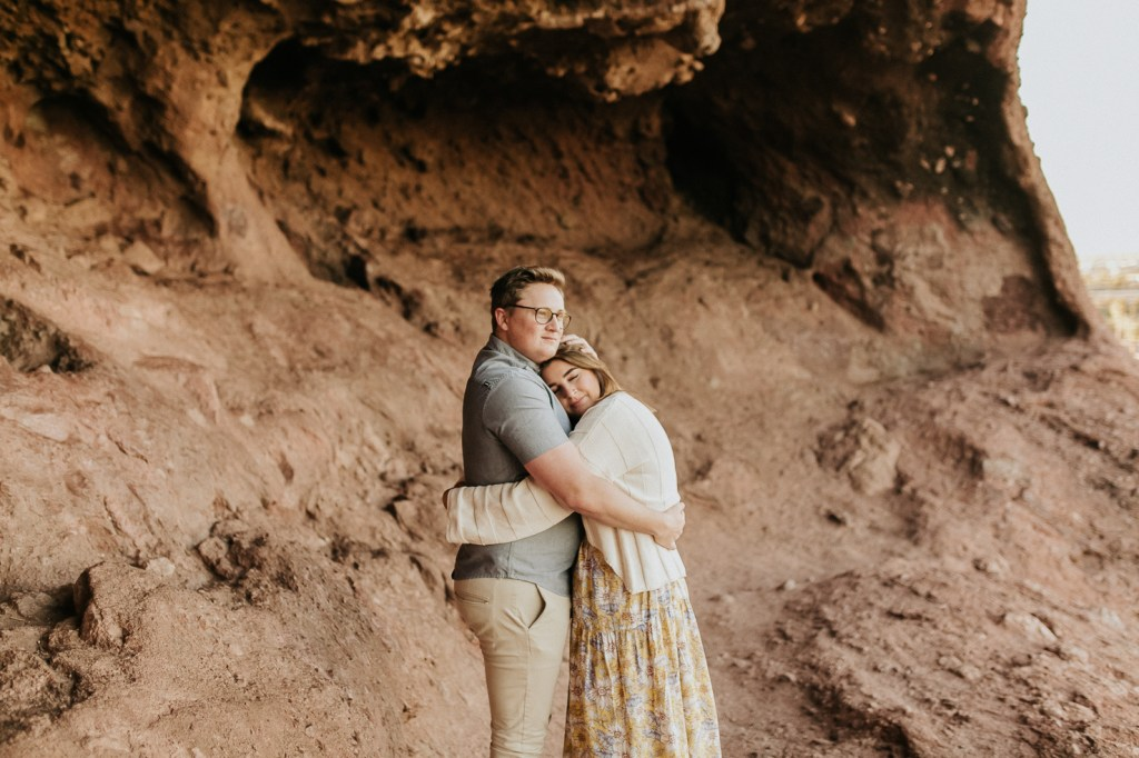Megan Claire Photography | Arizona Wedding and Engagement Photographer. boho arizona desert couples session by red rocks @meganclairephoto