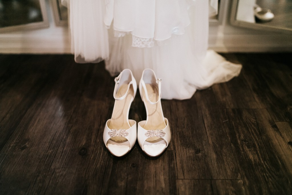 Megan Claire Photography | Arizona Wedding Photographer. Beautiful winter wedding in the desert at the Paseo in Apache Junction, Arizona near superstition mountains. White satin heels for wedding day