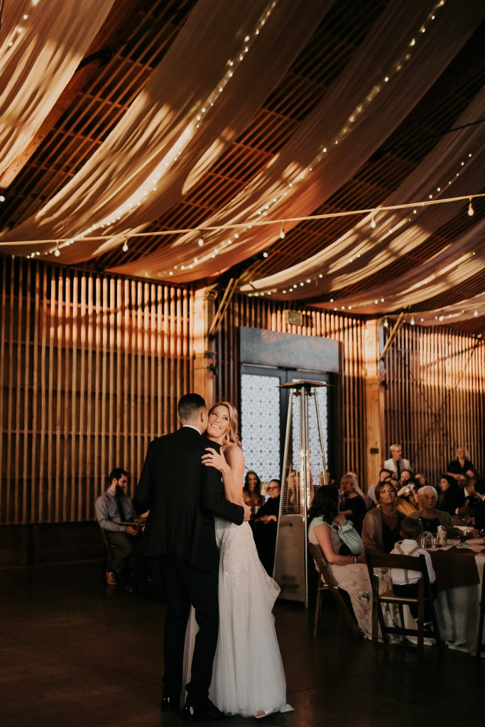 Megan Claire Photography | Arizona Wedding Photographer. Beautiful winter wedding in the desert at the Paseo in Apache Junction, Arizona near superstition mountains. Bride and groom's first dance