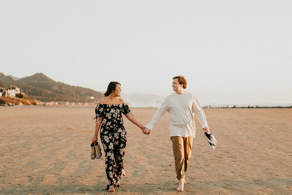 Megan Claire Photography   Oregon engagement and wedding photographer. Cannon beach playful engagement session for adventurous couple