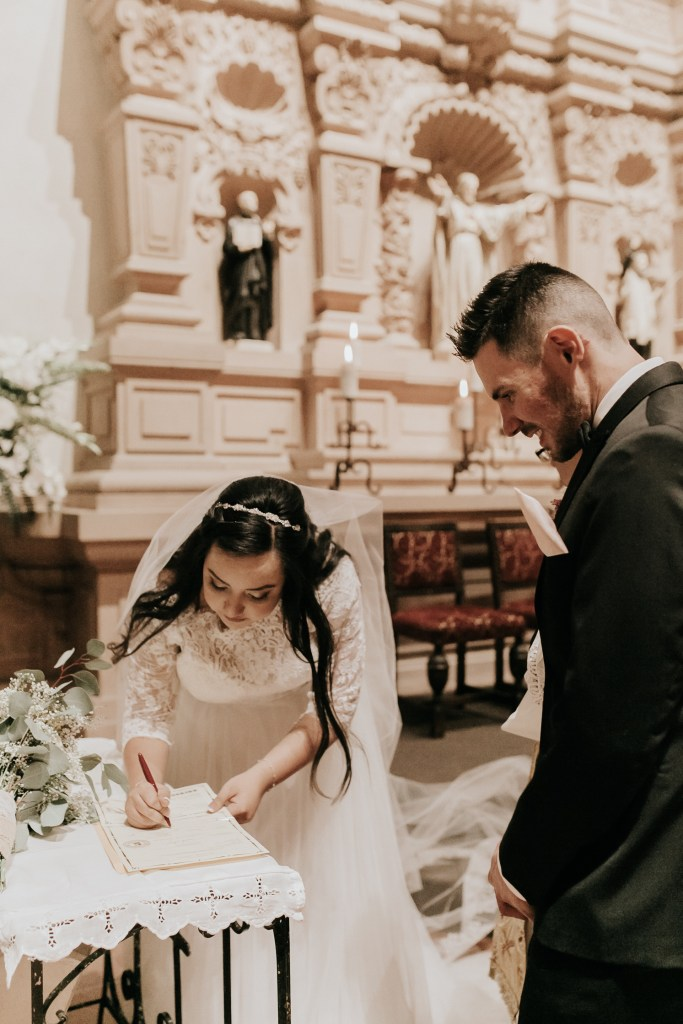 Megan Claire Photography | Arizona Wedding Photographer. Beautiful spring wedding. Indoor church wedding ceremony in the at Brophy Chapel in Phoenix Arizona