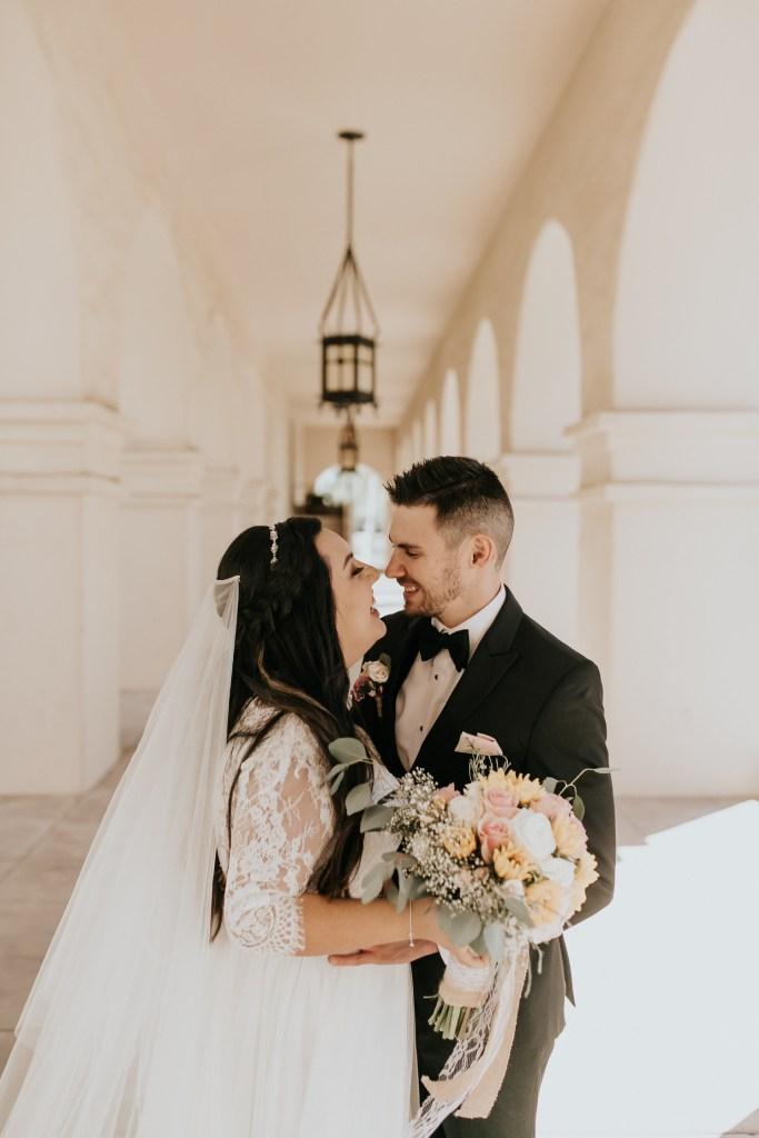 Megan Claire Photography   Arizona Wedding Photographer. Beautiful church wedding. Bride and groom portraits at Brophy Chapel in Phoenix Arizona