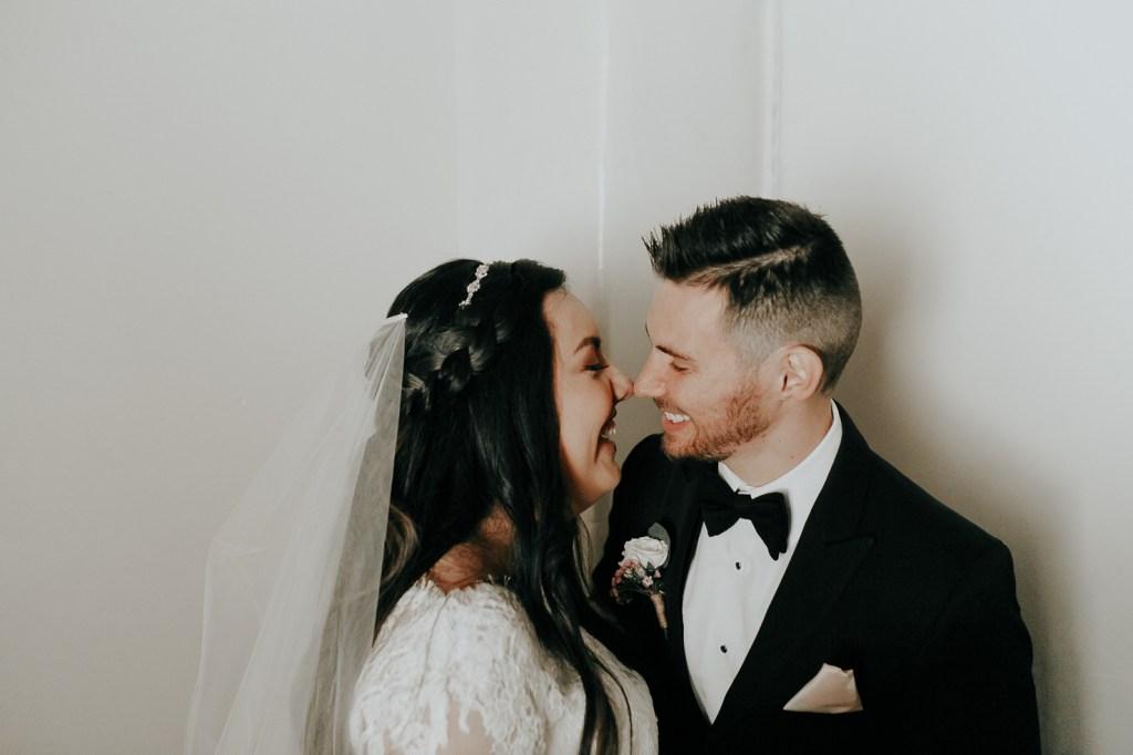 Megan Claire Photography   Arizona Wedding Photographer. Beautiful church wedding. Bride and groom portraits in stairwell