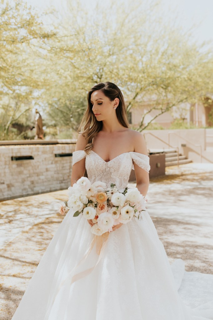 Megan Claire Photography | Arizona Wedding Photographer. Beautiful summer wedding in the desert at the Wright House in Mesa, Arizona. Bride in ball gown with cathedral train