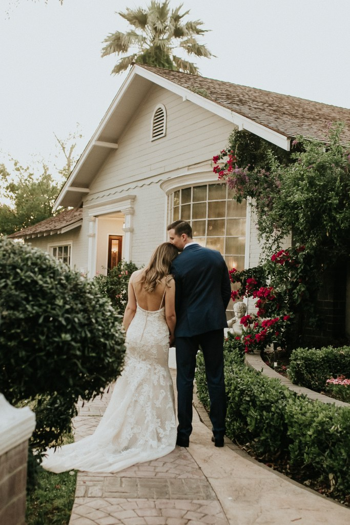 Megan Claire Photography | Arizona Wedding Photographer. Beautiful summer wedding in the desert at the Wright House in Mesa, Arizona. Bride and Groom wedding portraits in garden