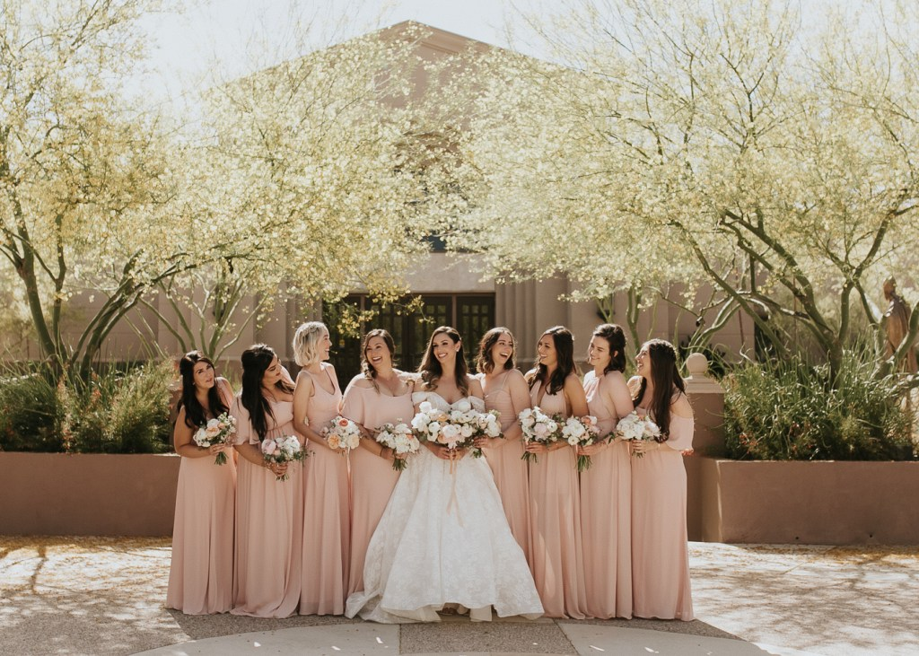 Megan Claire Photography | Arizona Wedding Photographer. Beautiful summer wedding in the desert at the Wright House in Mesa, Arizona. Bridal party in blue and peach
