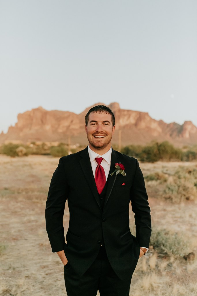 Megan Claire Photography | Arizona Wedding Photographer. Beautiful fall wedding in the desert at the Paseo in Apache Junction, Arizona near superstition mountains. desert groom photos @meganclairephoto