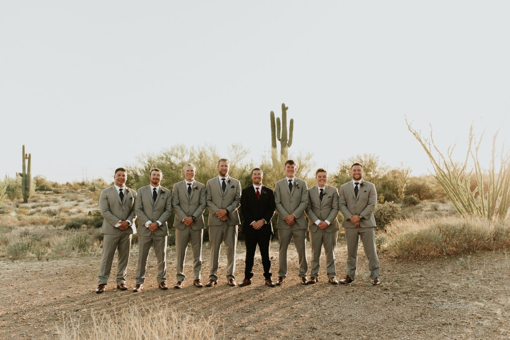 Megan Claire Photography | Arizona Wedding Photographer. Beautiful fall wedding in the desert at the Paseo in Apache Junction, Arizona near superstition mountains. groomsmen photos @meganclairephoto