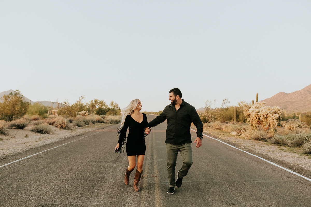 Megan Claire Photography | Arizona Wedding and Engagement Photographer. Megan-Claire.com  Arizona desert engagement session. Arizona Engagement inspiration. Couples photography. Boho roadside engagement photoshoot. @meganclairephoto