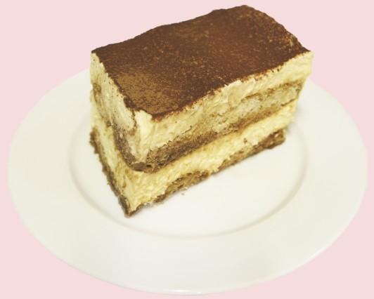 tiramisu cake slice on plate