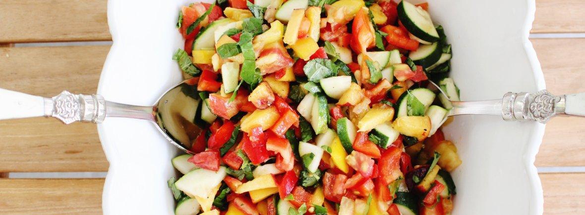 tomato basil and peach salad