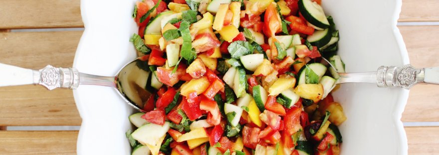 tomato basil and peach salad