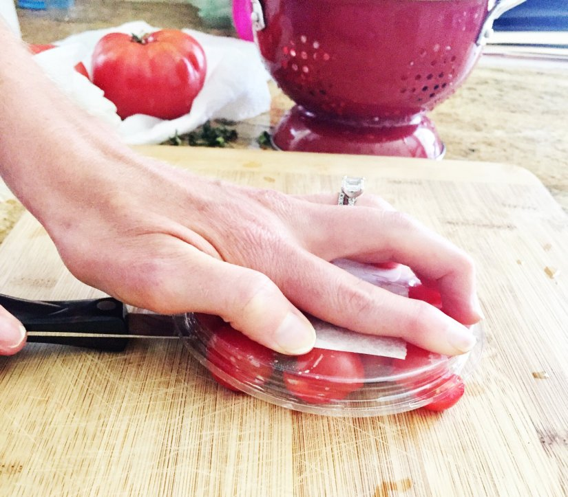 trick for halving cherry tomatoes