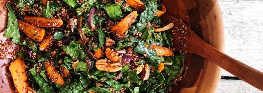roasted carrot kale and quinoa salad - meganadamsbrown.com