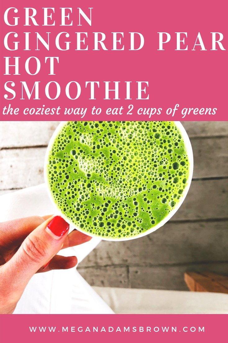 green gingered pear hot smoothie