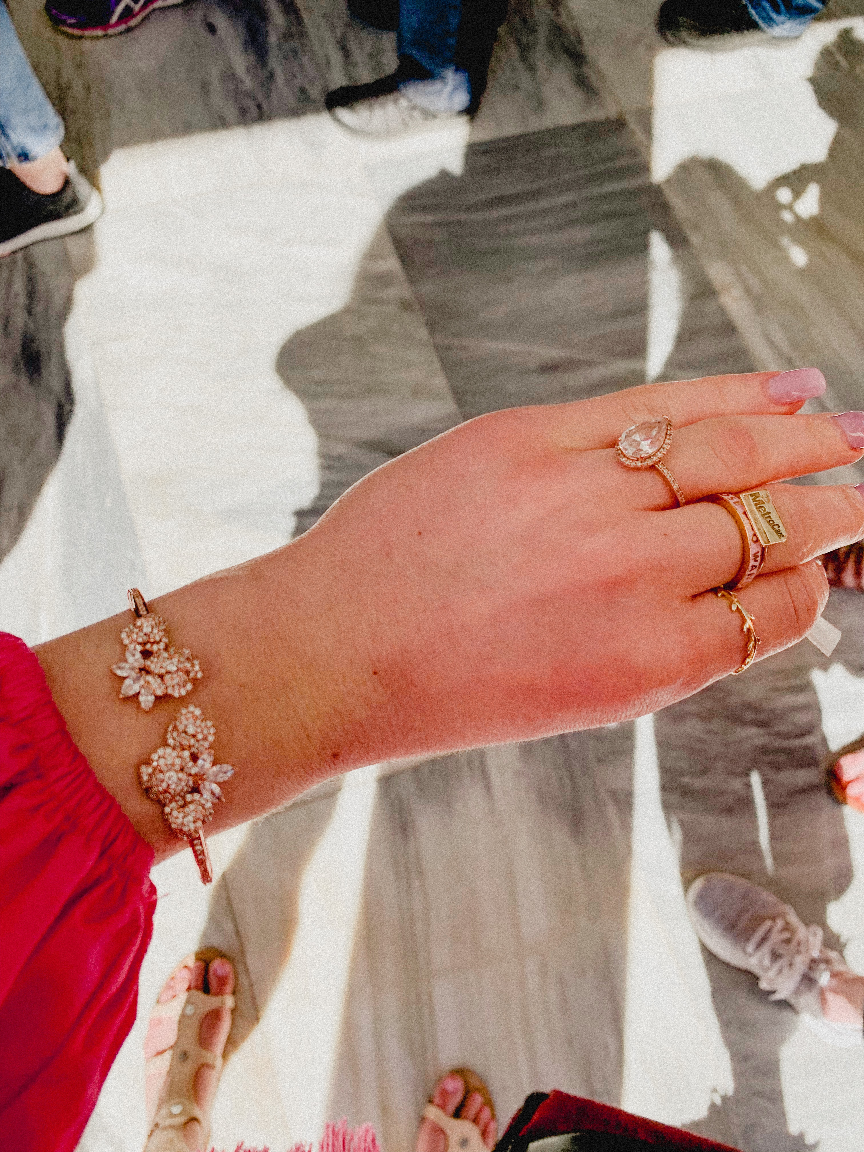 Pandora teardrop Ring & Kate Spade Rose Gold Clasp Bracelet