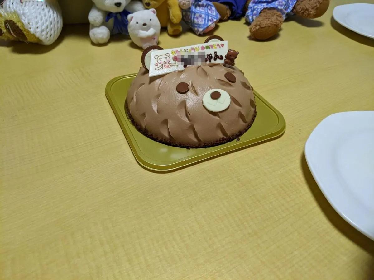 コージーコーナー製くまチョコケーキ