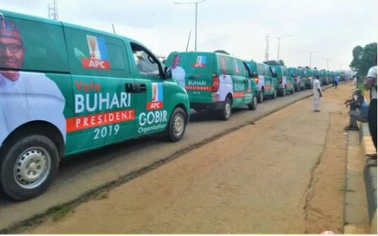About 100 Buhari Campaign Buses Spotted In Lagos