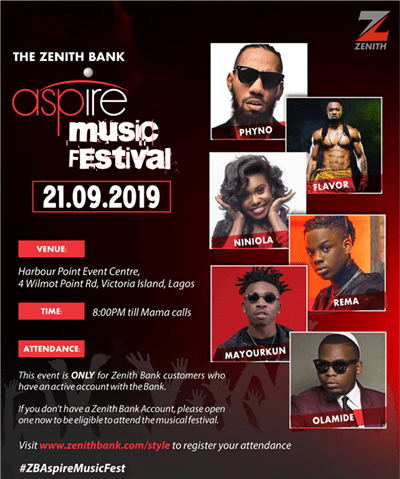 Olamide, Flavour, Phyno, others to perform as Zenith Bank's Aspire Music Festival debuts in Lagos