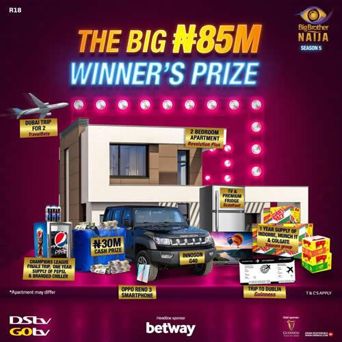 BBNaija Winner to Walk Away with N85 million Grand Prize