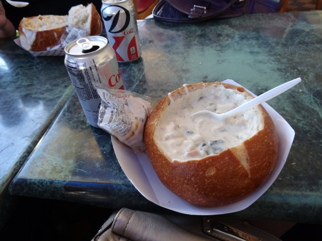 Introducing Joe to clam chowder. He'd never had it!