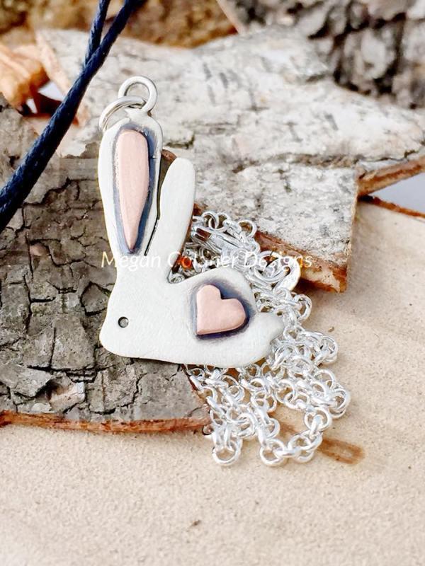 Sterling Silver Bunny Heart Pendant