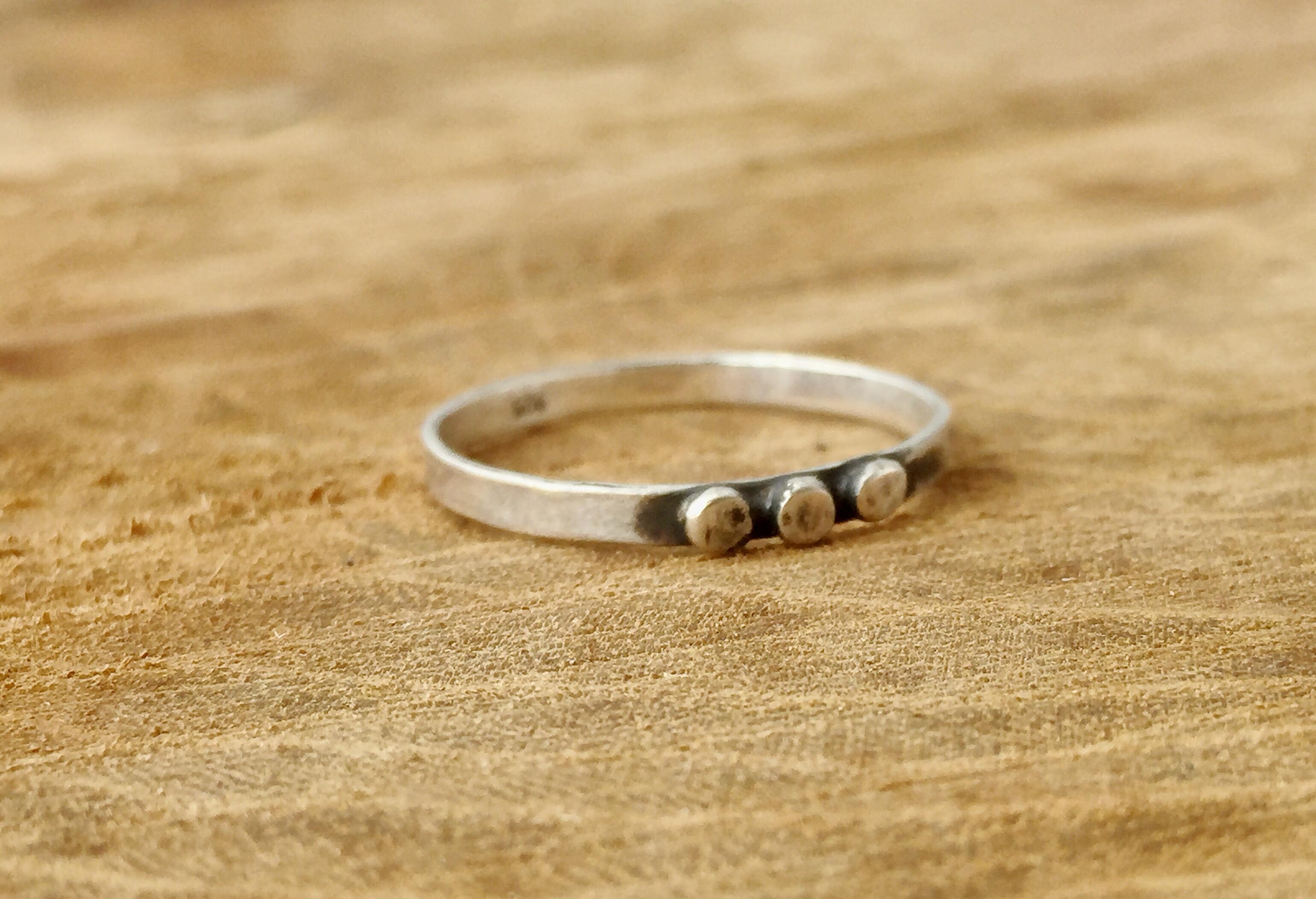 Sterling Silver Triple Dot Ring