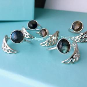 Sterling Silver Limited Edition Adjustable Angel Wing Ring - Labradorite