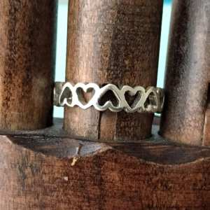 Sterling Silver Upside Down Open Hearts Ring
