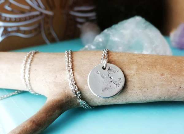 Sterling Silver Keepsake Coin Imprint Necklace