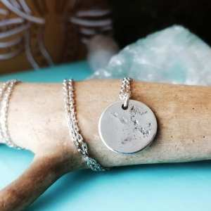 Sterling Silver Keepsake Coin Imprint Necklace