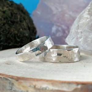 Sterling Silver Couples Rings – Hammered Rings
